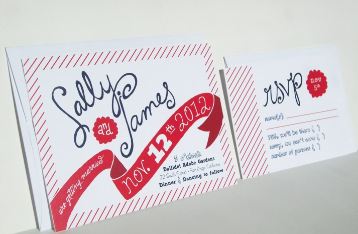 Printable white navy red wedding invitation