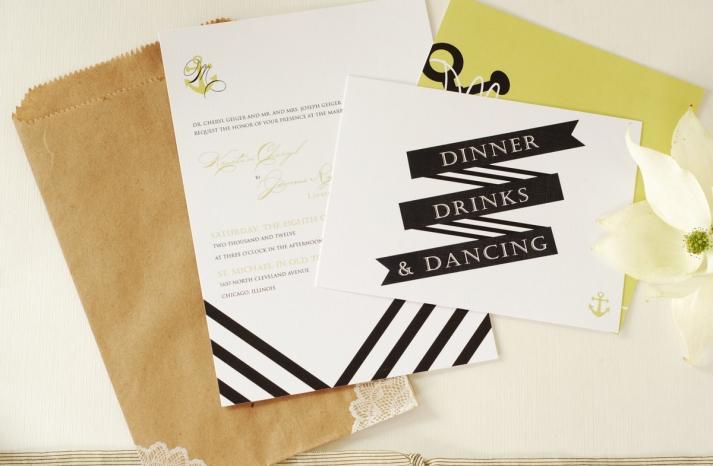 Nautical stripe wedding invitation set
