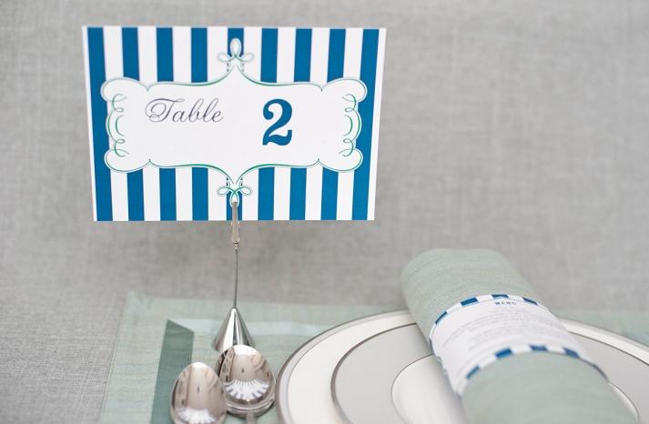 Navy aqua white wedding table numbers