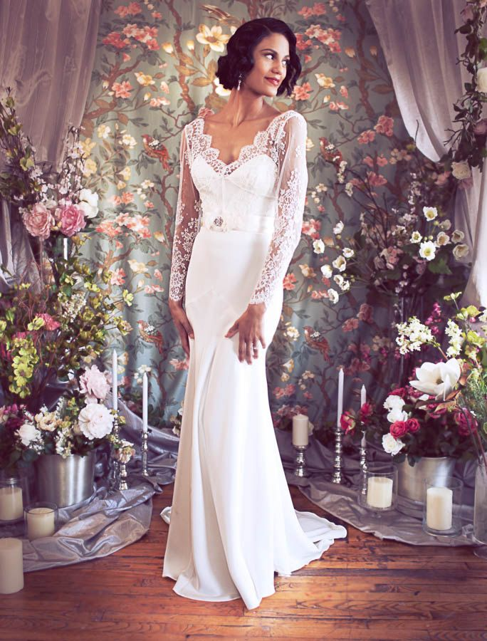 1930s inspired lace and silk wedding dress