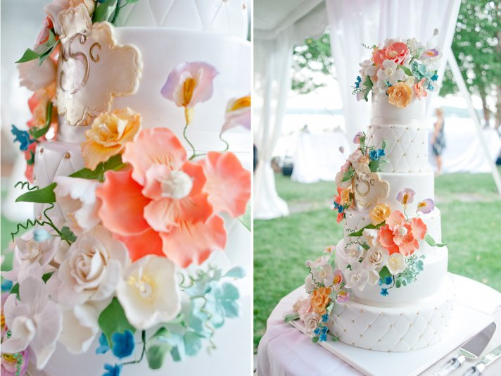 Fondant floral topped wedding cake