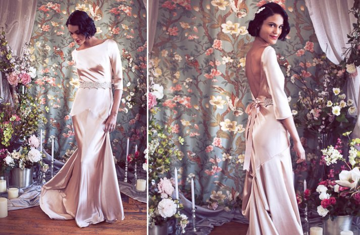 Blush pink silk wedding dress with three quarter length sleeves