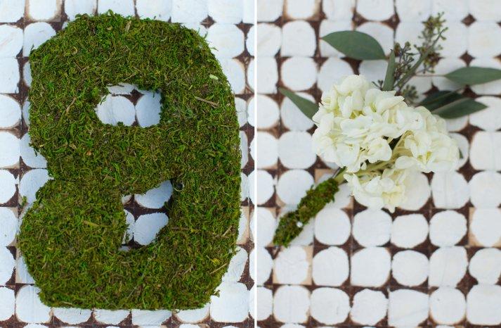 Moss and hydrangea wedding flower decor