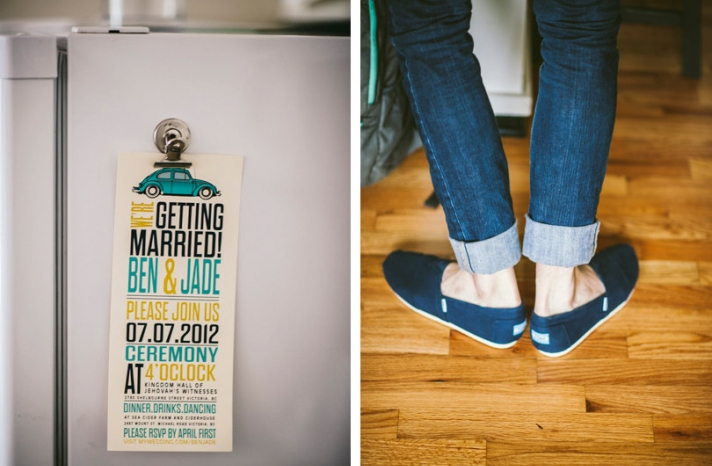 hipster wedding invitation and shoes