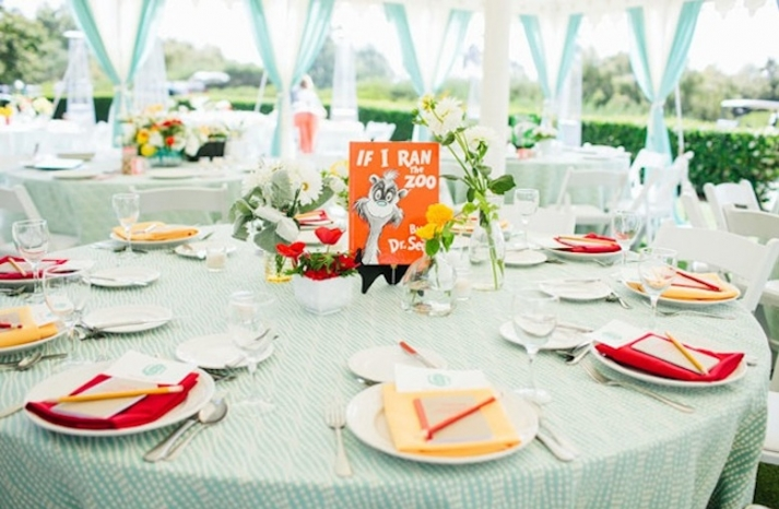 whimsical dr seuss themed wedding reception tablescape