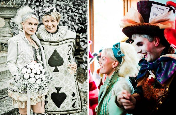 ce in Wonderland themed wedding offbeat bride and groom