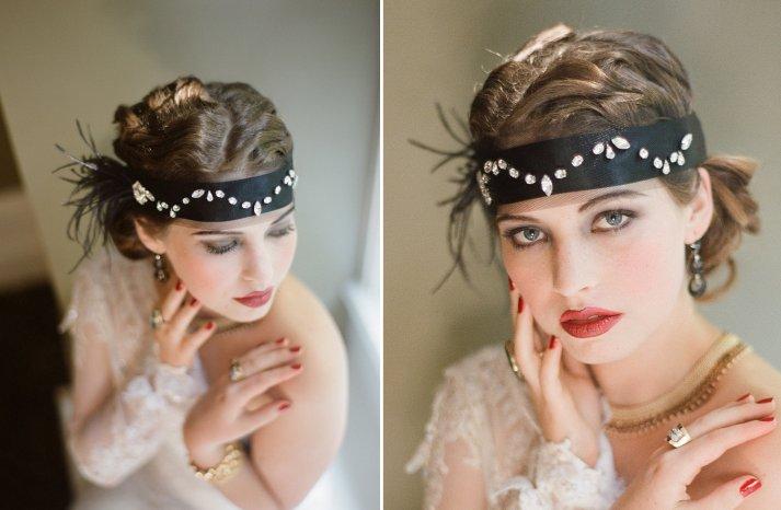 Gatsby inspired wedding headpiece black bandeau