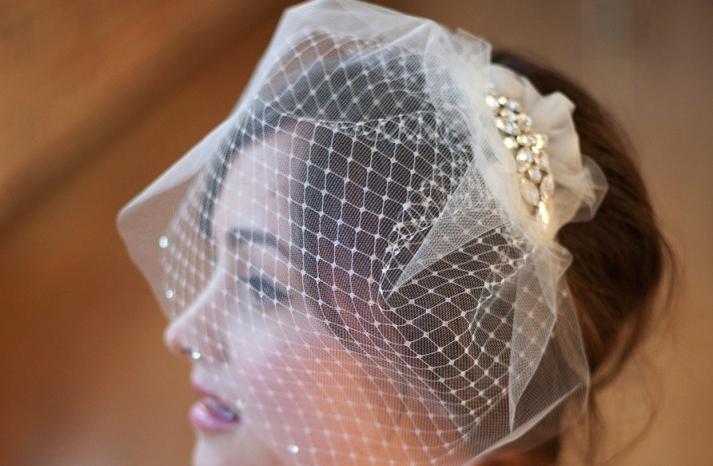Romantic double layer birdcage veil