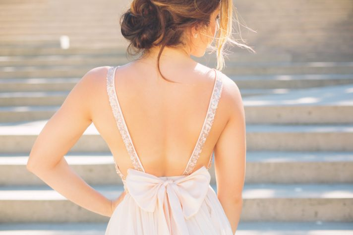Sequin rose gold bridesmaid dress