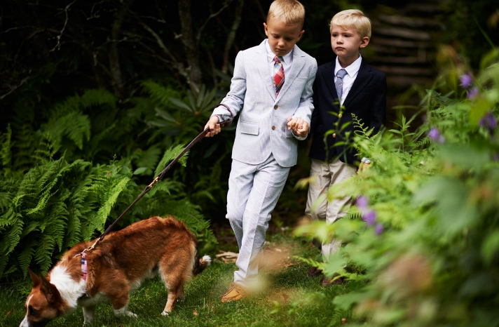 New England Garden wedding ring bearers with a pup