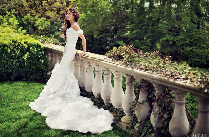 Dylan Lauren celebrity bride in off the shoulder mermaid wedding dress