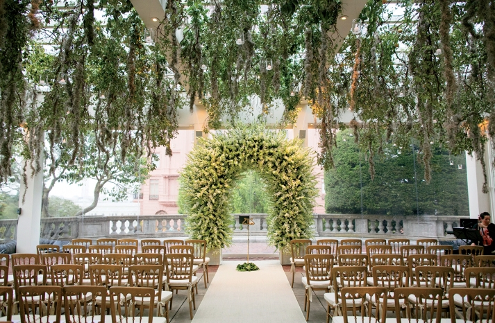 Vanessa Traina wedding enchanted ceremony setup