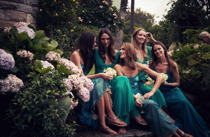Candice Lake bridesmaids in deep aqua