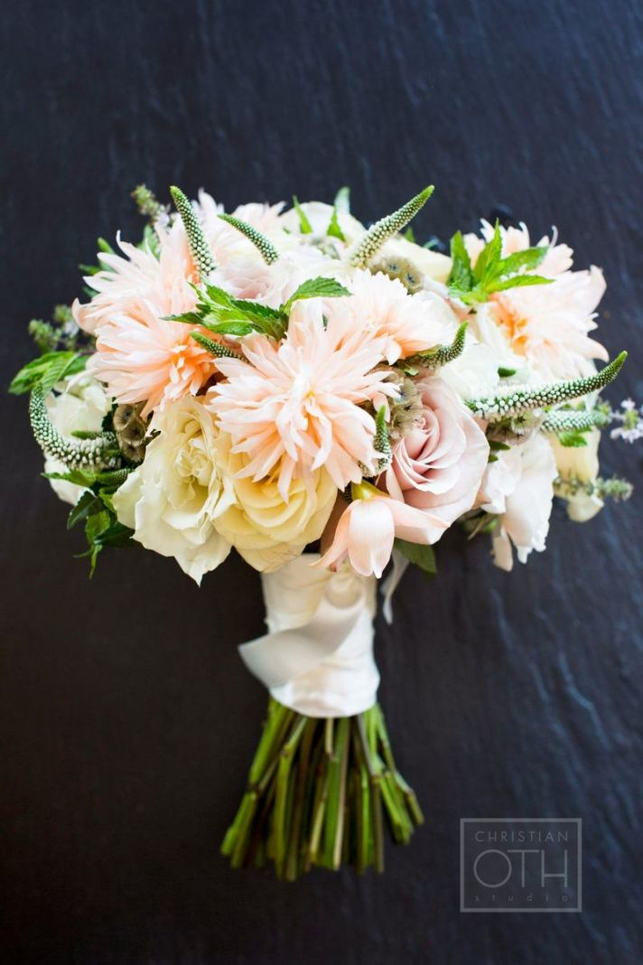 Romantic peach buttercream ivory wedding bouquet