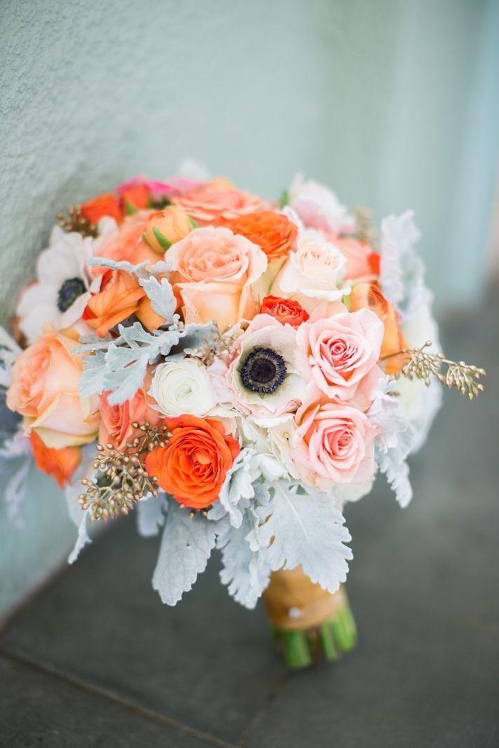 Peach orange sage wedding bouquet for summer