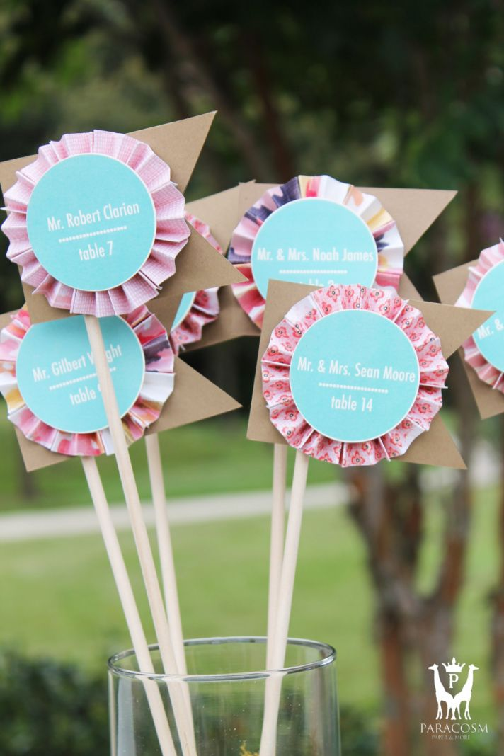 Decorative flag escort cards for the reception