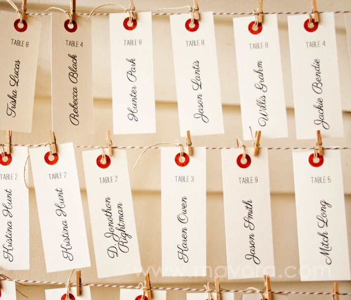 vintage luggage tag escort cards with mason jars