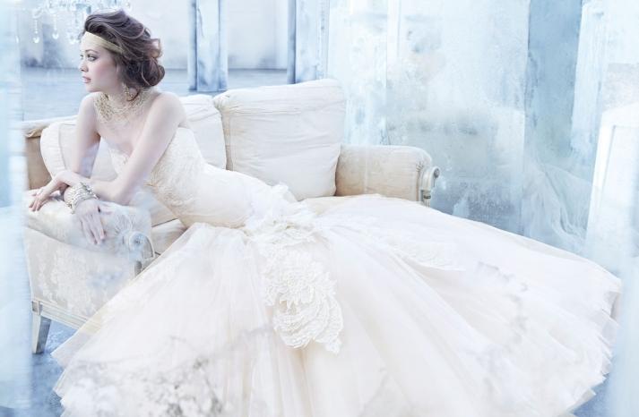 Lazaro wedding dress fall 2013 bridal cream drop waist mermaid