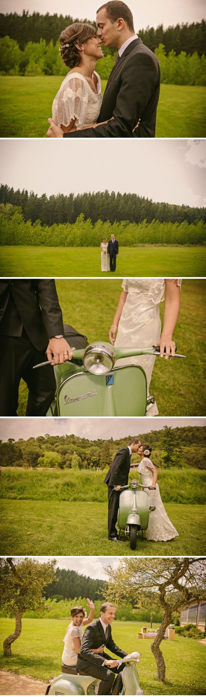 Real Spanish Wedding Otaduy Wedding Dress Outdoor Romantic Bride and Groom on Vespa