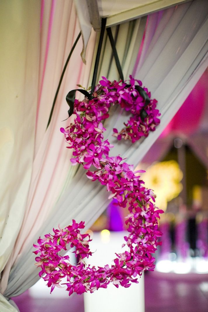 Hot pink orchid wedding initials for hanging decor