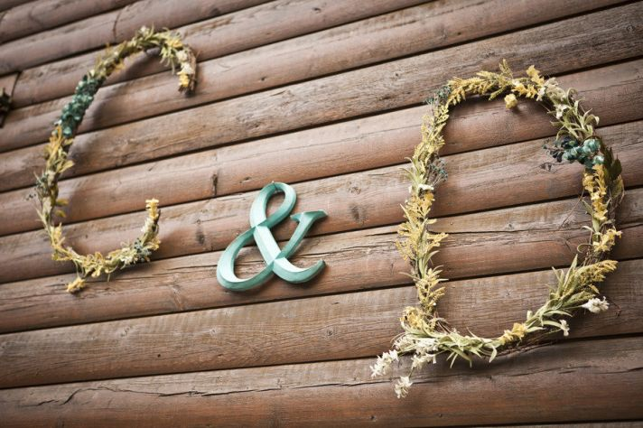 Romantic woodlands wedding monogram wall decor
