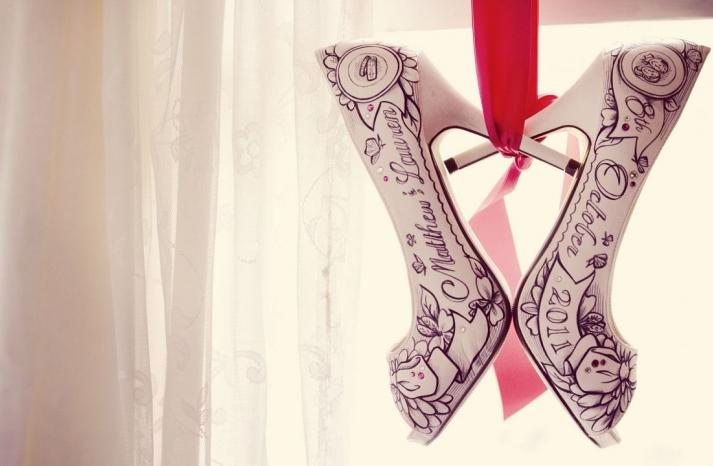 custom ivory peep toe wedding shoes by Figgie
