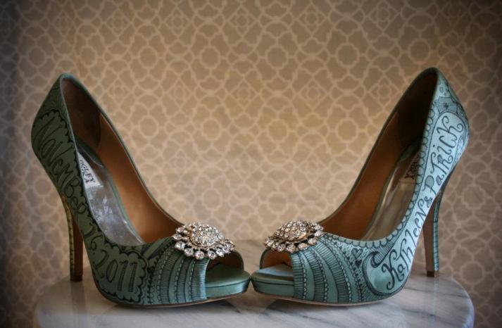 Satin teal Badgley Mischka wedding shoes with hand drawn design