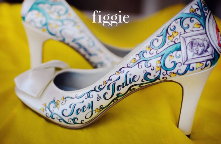 One of a kind wedding shoes personalized for the bride by Figgie 8