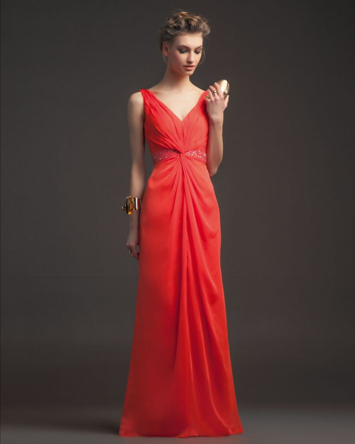 Gorgeous 2014 Bridesmaid Dresses from Aire Barcelona bright coral v neck