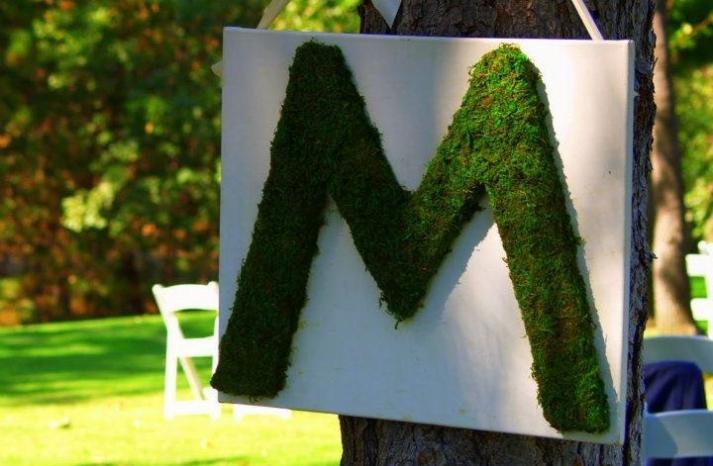 Moss Monogram M for outdoor rustic wedding