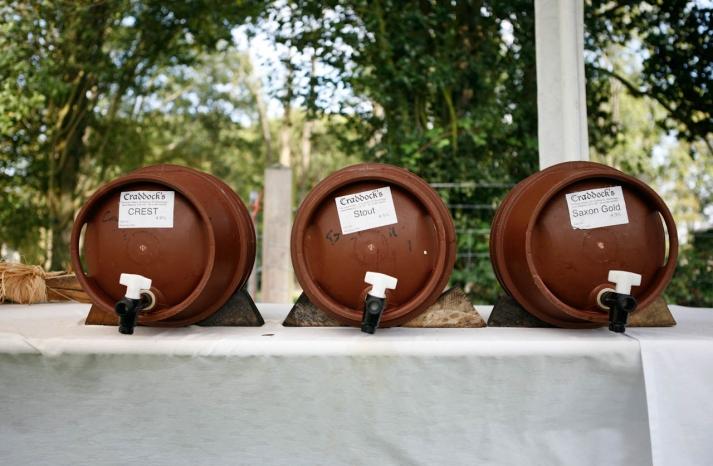Custom beer kegs for glamping wedding