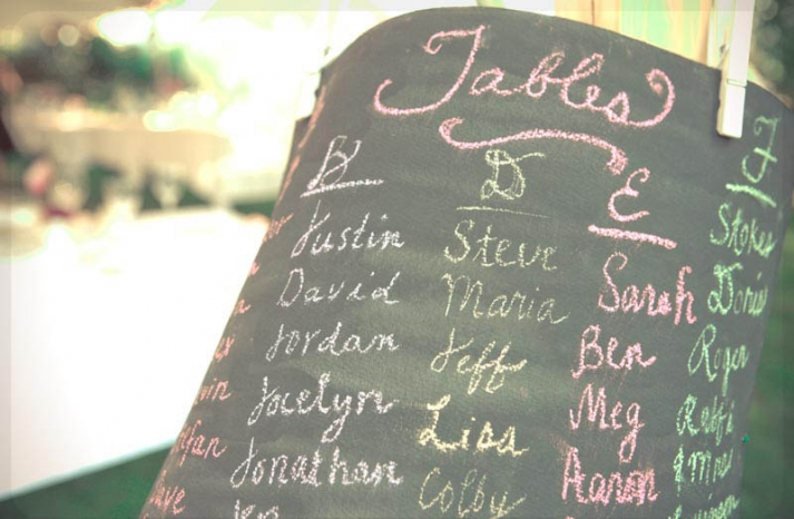 Chalkboard wedding seating chart with colorful pops