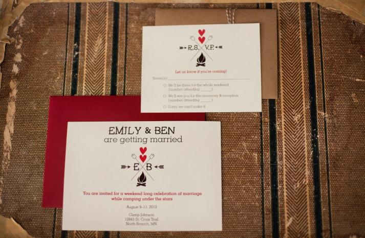 Glam camping wedding invitation