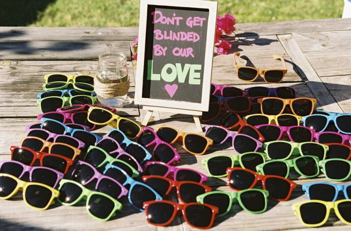 Real wedding favors colorful kitschy sunglasses