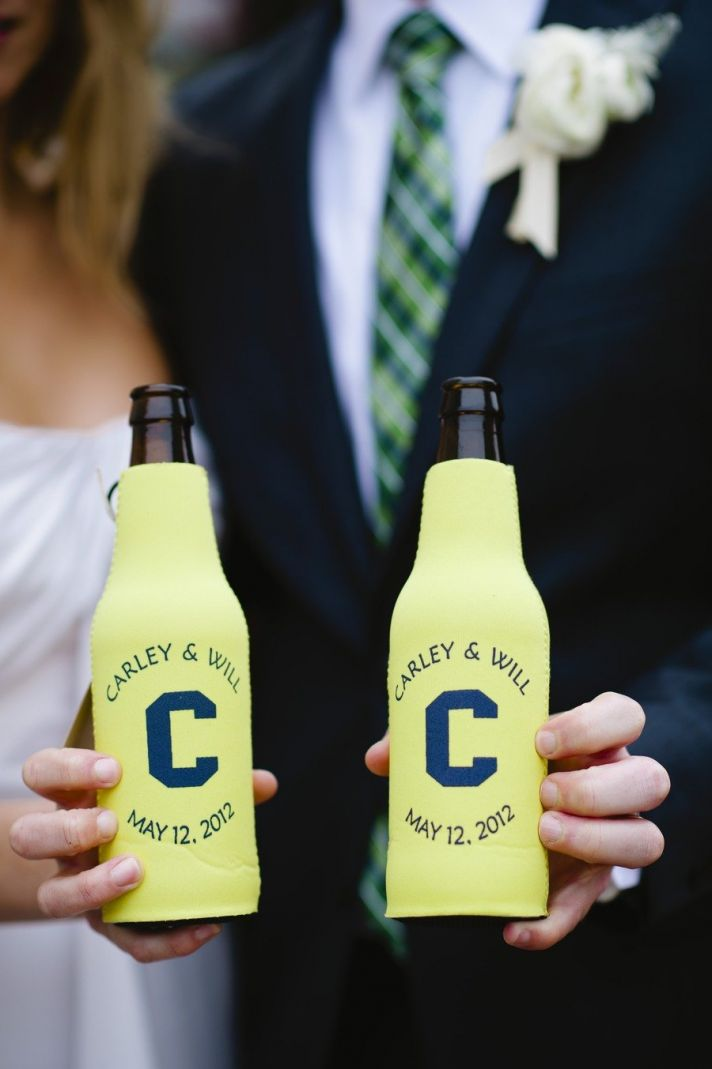 yellow and navy custom koozie wedding favors