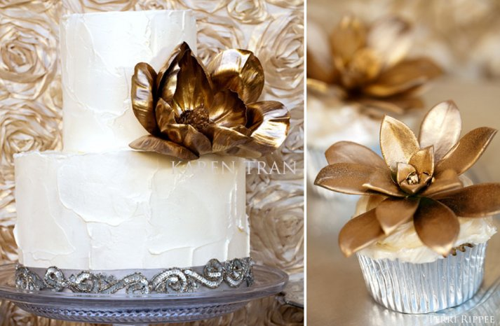 Gold topped wedding cakes and cupcakes