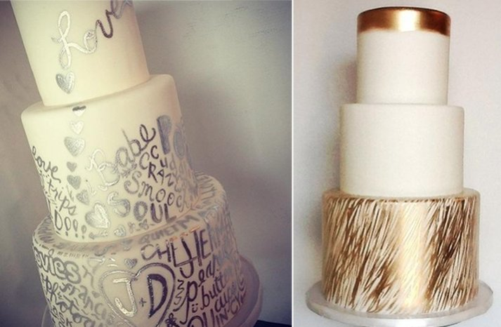 Silver and gold handpainted wedding cakes