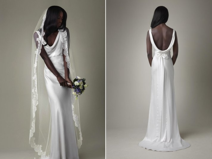 Simple white silk mermaid wedding dress with open back