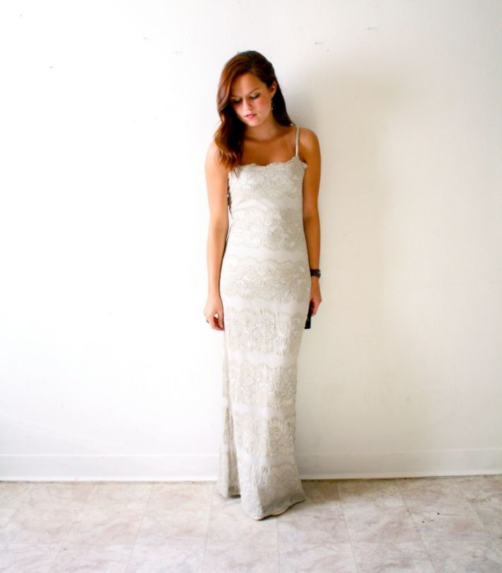 vintage lace beaded column wedding dress