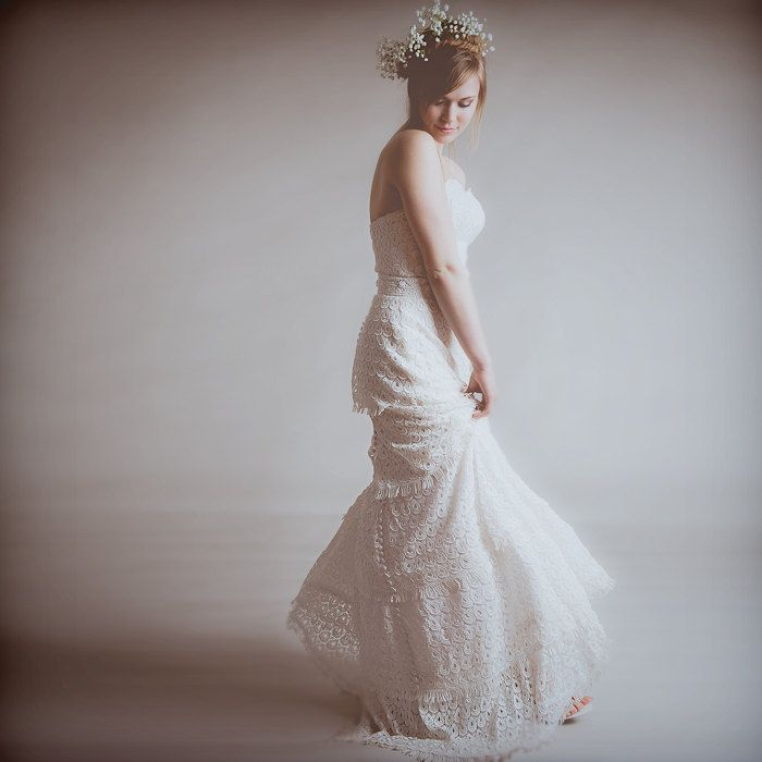eco vintage romantic tiered wedding dress