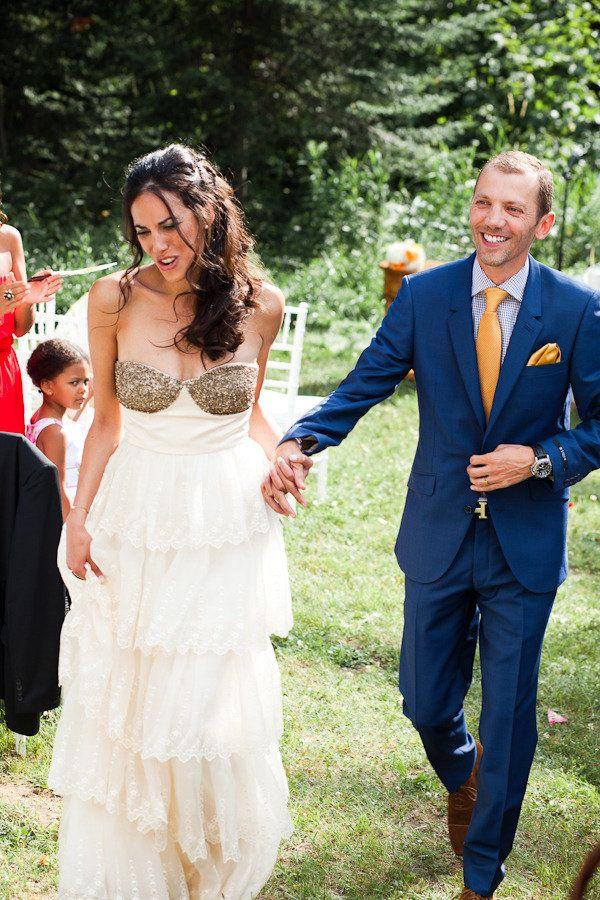 bhldn burnished organza cream and gold wedding dress