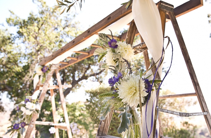 vintage wood ladder wedding ceremony arbor
