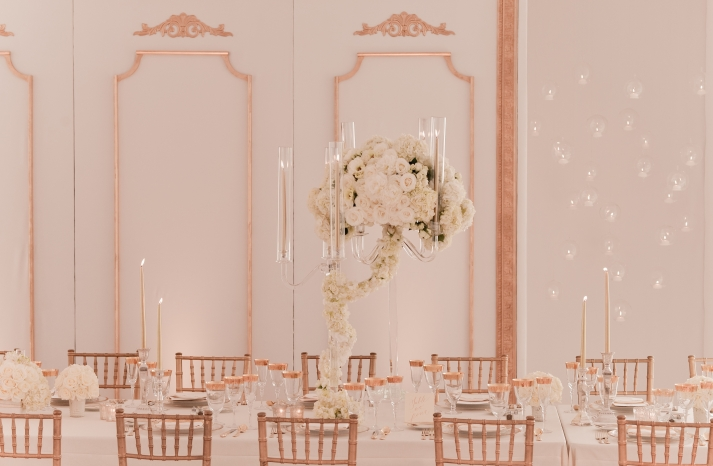 ivory and gold elegant wedding reception tables and venue