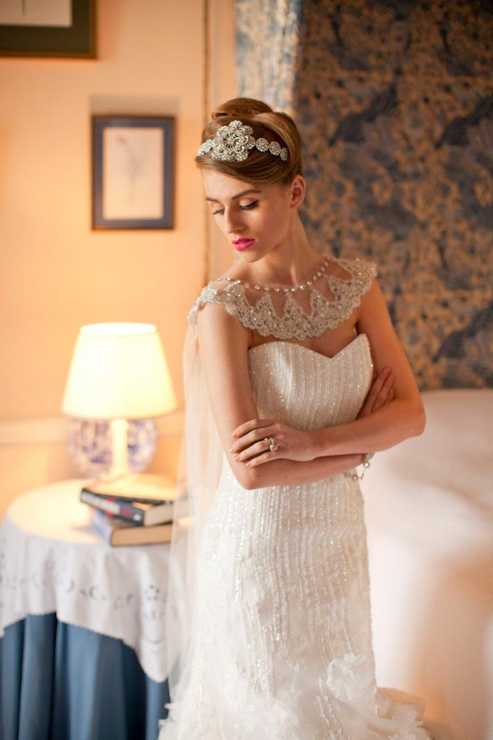 lace and crystal adorned wedding cape with watteau train