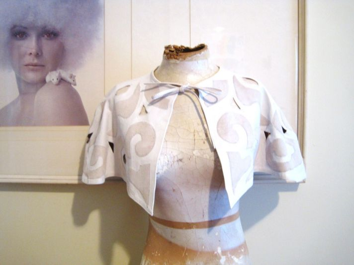 vintage white and beige bridal cape