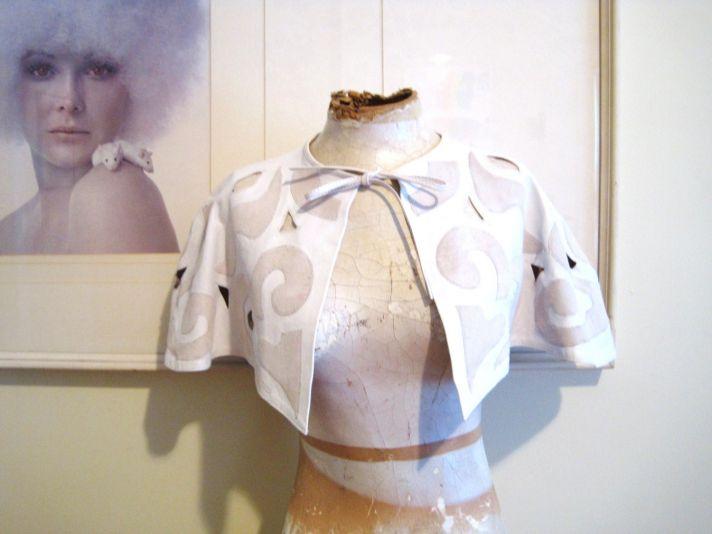 vintage white and beige bridal cape