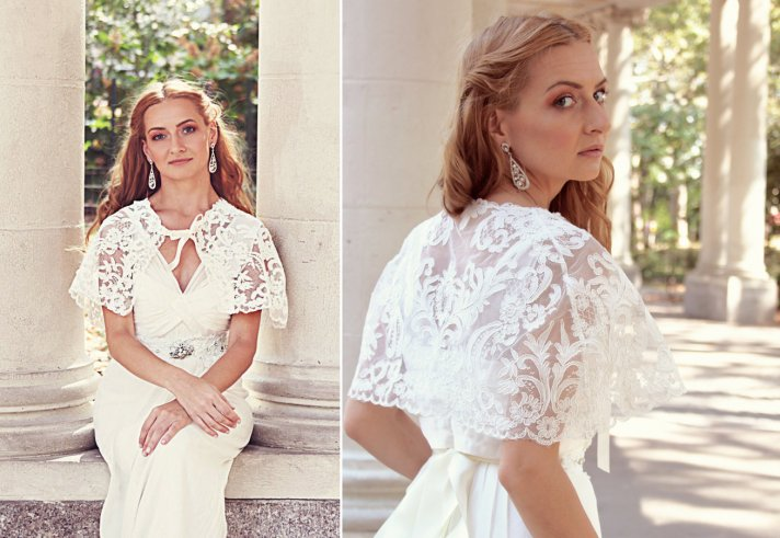 Classic lace bridal cape with ribbon tie