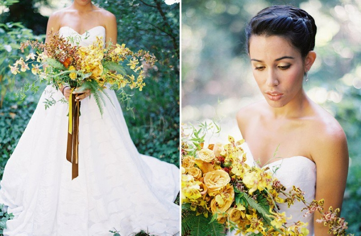 Dramatic fall bridal bouquet with golden yellow and rust blooms