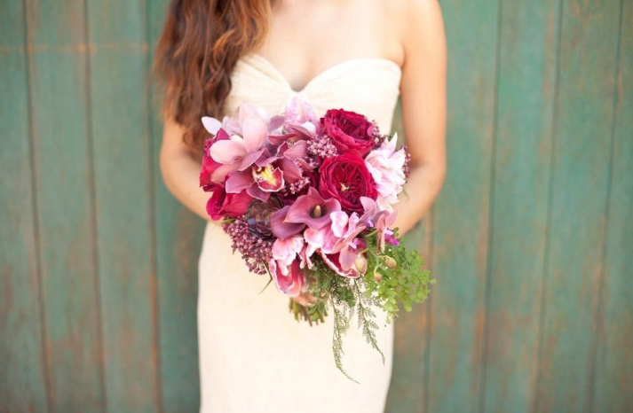 hot pink and plum wedding bouquet