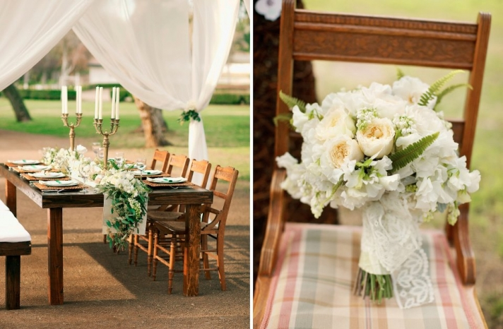 Cream and green elegant bridal bouquet with lace wrap
